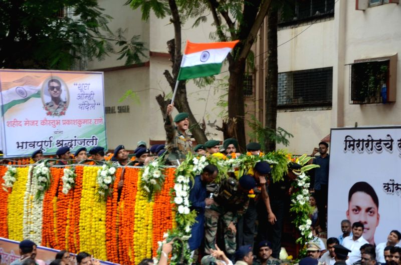 The funeral procession of late Major Kaustubh P. Rane who was among the four soldiers killed in a gunfight with terrorists near the Line of Control (LoC) in Jammu and Kashmir's Bandipura; ...