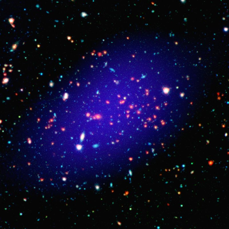 The galaxy cluster called MOO J1142+1527 can be seen here as it existed when light left it 8.5 billion years ago. (Photo: NASA)