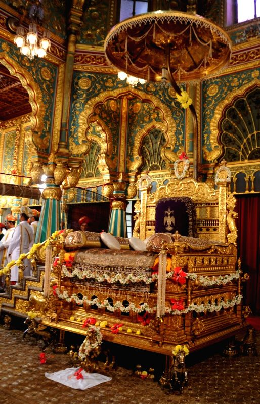 The Golden Throne At Amba Vilas Durbar Hall In Mysore Palace Being Prepared For