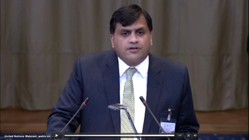 The Hague: A screengrab of Pakistan Director General (South Asia and SAARC) Dr Mohammad Faisal as he speaks at the International Court of Justice during a public hearing in the case of Kulbhushan ...