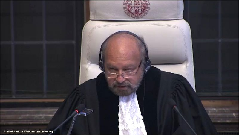 The Hague: A screengrab of President of  International Court of Justice, Judge Ronny Abraham, reading out the court verdict in Kulbhushan Jadhav's case  in The Hague, Netherlands on May 18, 2017. In ...