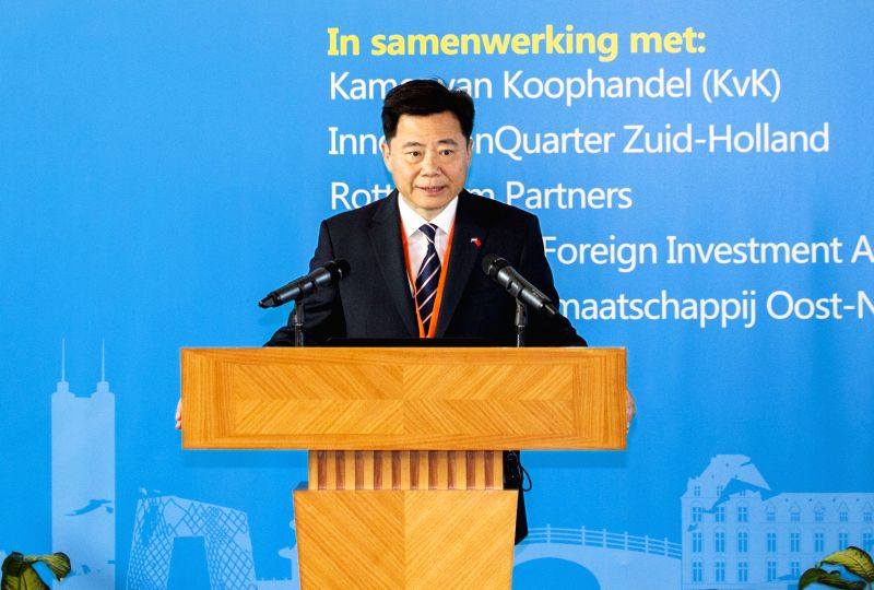 "THE HAGUE, April 22, 2017 - Chinese Ambassador to the Netherlands Wu Ken delivers a speech at the first edition of ""China-Netherlands Economic Cooperation Forum"" in The Hague, the ..."