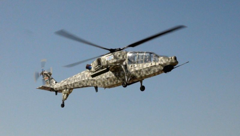 The HAL-built Light Combat Helicopter (LCH) on a test flight with its automatic flight control system.