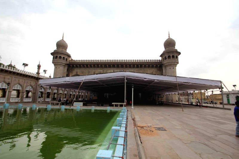 The histroic Macca Masjid in Hyderabad getting ready before Ramadan on June 28, 2014.