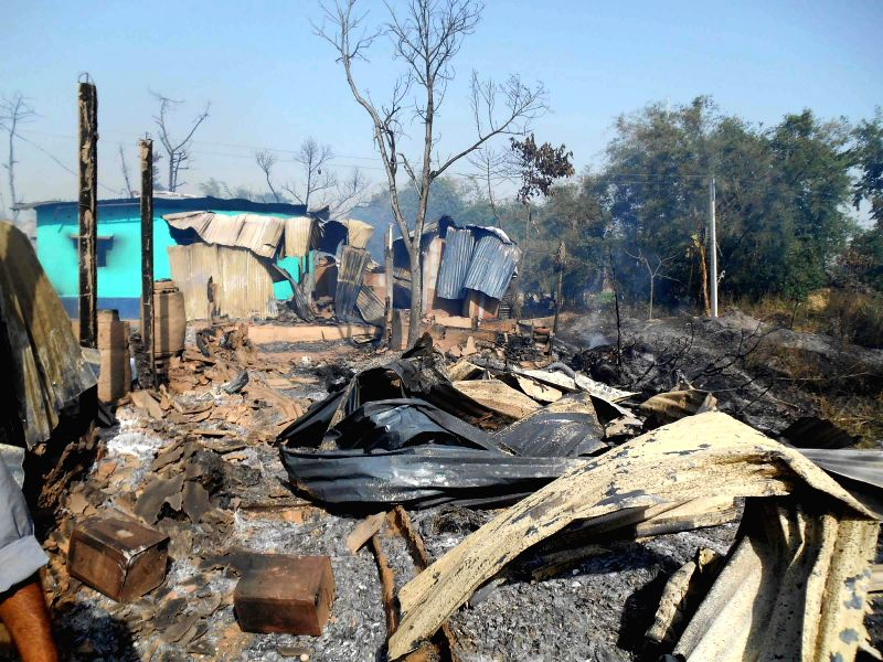 The houses that were gutted in a fire that broke out in Harishchandrapur of West Bengal's Malda district on May 14, 2014.