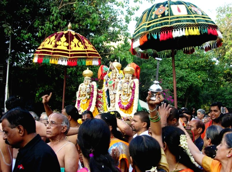 The idols of Tirupathi Balaji and his consorts Sridevi and Bhudevi being brought during a wedding procession organised to celebrate their marriage ceremony in Mumbai on Nov 30, 2015.