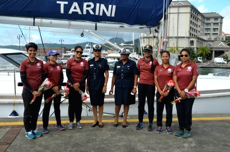 The Indian Navy's sailing vessel with an all-woman crew, INSV Tarini, which is due to begin a circumnavigation of the globe in August, on Tuesday reached Mauritius on its first sea voyage.