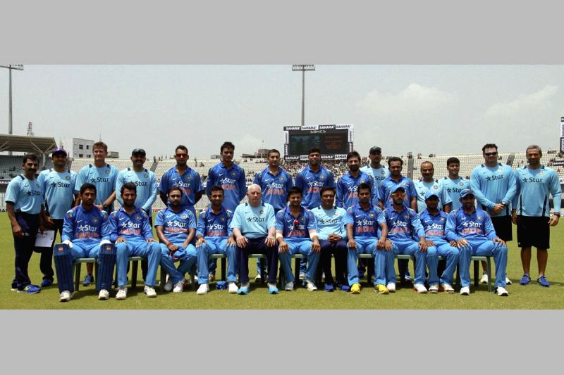The Indian team pose for a group photo during the 1st ODI between India v/s Bangladesh at Shere Bangla National Stadium in Mirpur, Bangladesh on June 15, 2014.