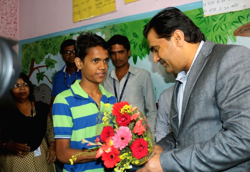 The Joint Secretary of Pakistan High Commission Khadim Hussain meets Ramzan a Pakistani national who is facing nationality  in Bhopal, on Nov 27, 2015.