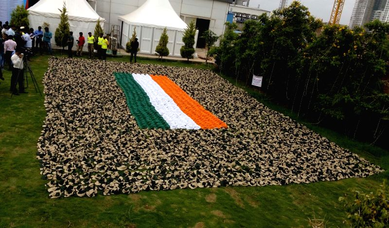 "The largest hat mosaic exhibited during the ""MSME DEFEXPO 2015"" at White Orchids Convention Centre in Bengaluru, on Dec 10, 2015."