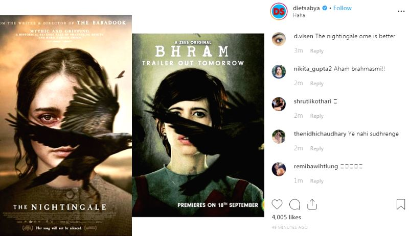"The latest poster of Kalki Koechlin's starrer ""Bhram"" seems to have an uncanny resemblance to Australian period thriller film ""The Nightingale"". Dietsabya on Wednesday shared a poster of ""The Nightingale"" and ""Bhram"". Both the posters showed a scare"