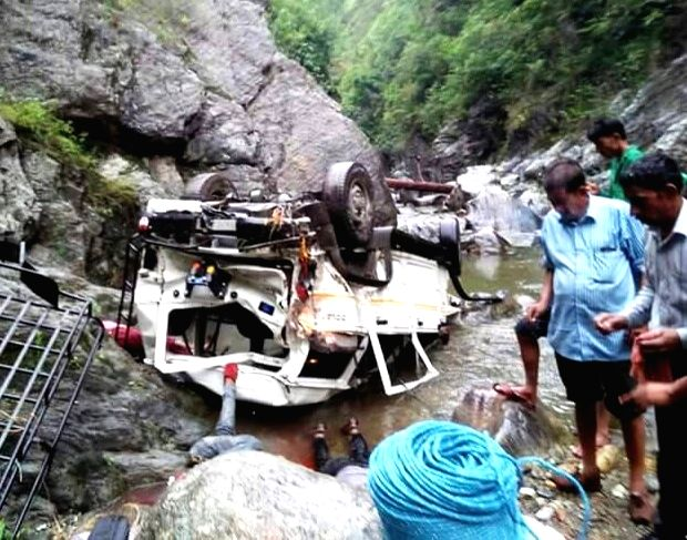 The mangled remains of a vehicle that fell into a gorge killing three persons in Almora of Uttarakhand on June 7, 2017.