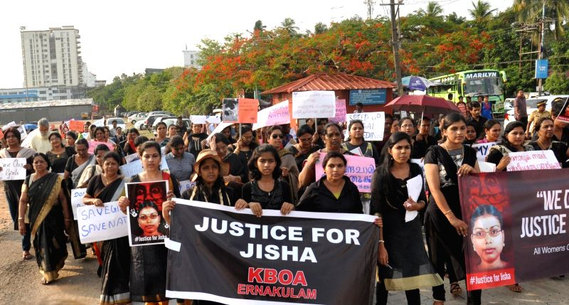 The membera of All Womens Group of Kerala demanding justice for the Perumbavoor brutal rape and murder of law student Jisha in Kochi, Kerala on May 7, 2016.