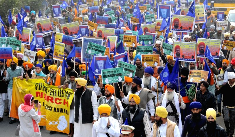 The members of All India Sikh Students Federation (AISSF) participate in a rally organised on International Human Rights Day in Amritsar, on Dec 10, 2015.