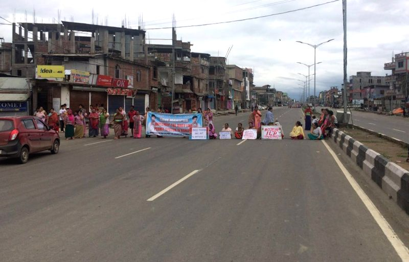 The members of Joint Committee On Inner Line Permit System stage a blockade in Imphal during a 38 hour strike called by them to press for implementation of Inner Line Permit in Imphal, on May ...