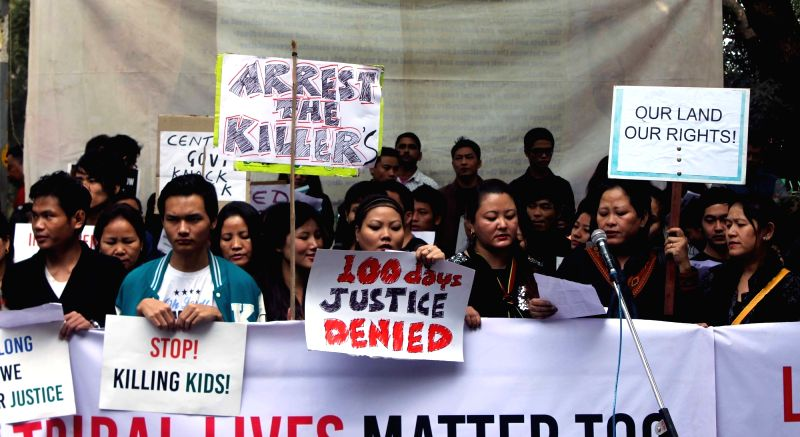 The members of Manipur Tribal Forum stage a demonstration to press for their demands at Jantar Mantar in New Delhi, on Dec 9, 2015.