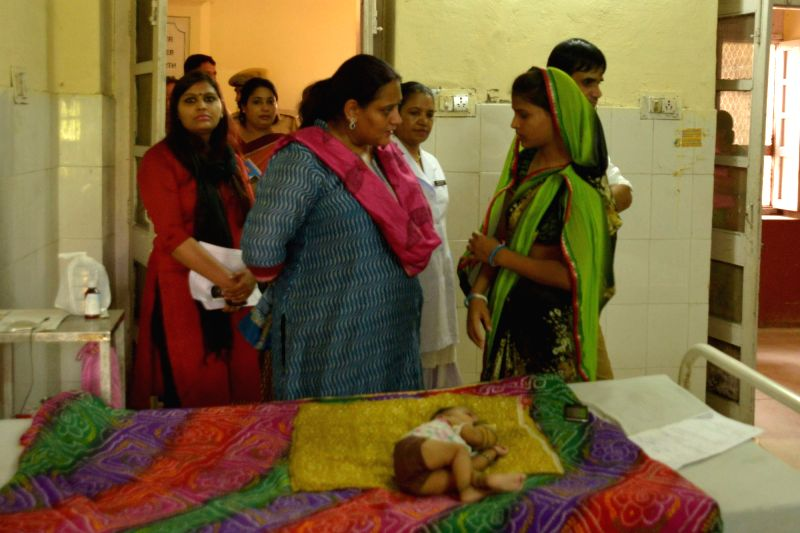 The members of National Commission for Protection of Child Rights (NCPCR) visit JLN Medical College where 17 newborn babies have died in May; on May 25, 2016.
