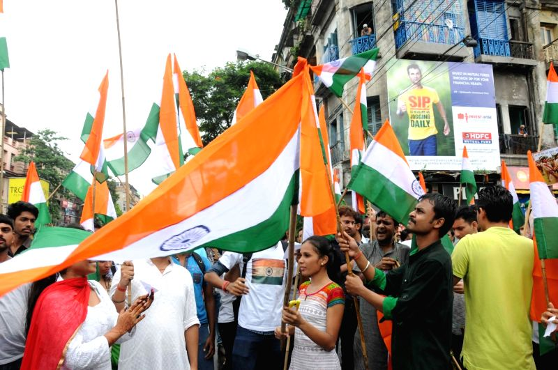The members of People's Platform for Social Reformation take out a rally showing gratitude to Indian Armed Forces to restore peace in the Kashmir valley in Kolkata on July 24, 2016.