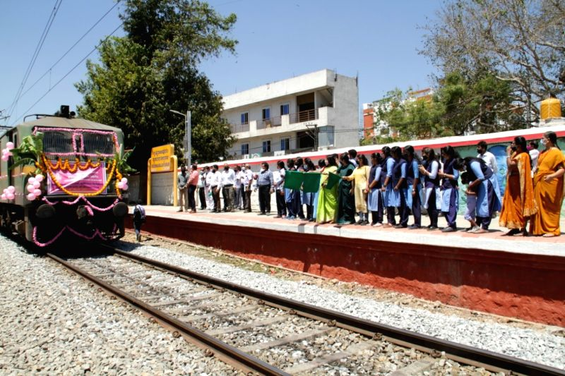 "The might of women was at full display at the city railway station to celebrate the International Women's Day, as they were allowed to run the show, an official said. ""The day commenced with women staff flagging off the Bagalkot-Mysuru Basava Express"
