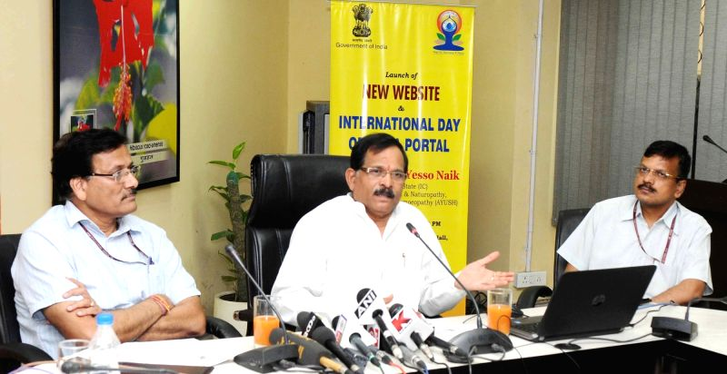The Minister of State for AYUSH (Independent Charge) and Health & Family Welfare Shripad Yesso Naik addresses at the launch of the revamped website of the Ministry of AYUSH, in New ...