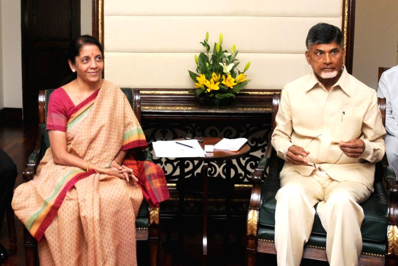 The Minister of State for Commerce & Industry (Independent Charge), Finance and Corporate Affairs Nirmala Sitharaman meeting the Chief Minister of Andhra Pradesh N. Chandrababu Naidu, in New ...