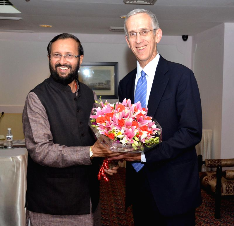 The Minister of State for Information and Broadcasting (Independent Charge), Environment, Forest and Climate Change (Independent Charge) and Parliamentary Affairs, Prakash Javadekar meeting the ...
