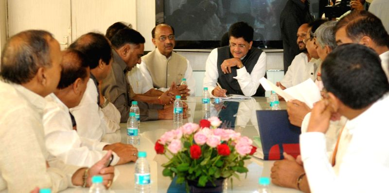 The Minister of State (Independent Charge) for Power, Coal and New and Renewable Energy Piyush Goyal meeting a delegation of the Delhi MLAs, in New Delhi on June 16, 2014.