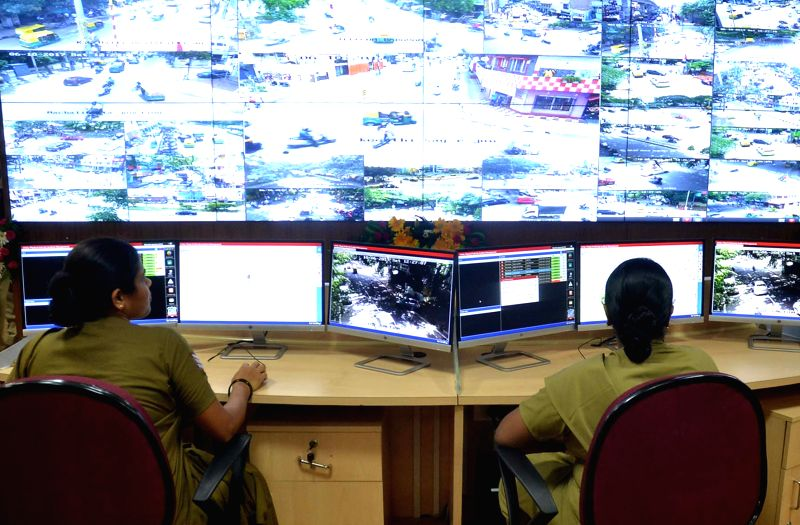 The newly inaugurated Command Centre of Bangalore City Police at Commissioner office in Bengaluru on June 10, 2017.