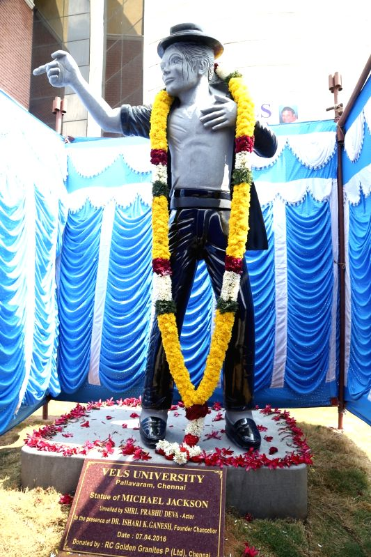 The newly installed 12-ft tall statue of late US pop star Michael Jackson at a Chennai university on April 7, 2016.
