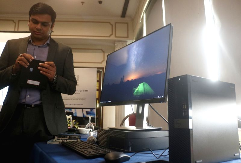The newly launched Dell Optiplex Desktop on display during its launch programme, in New Delhi on June 14, 2018.