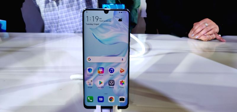 The newly launched Huawei P30 Pro smartphone on display