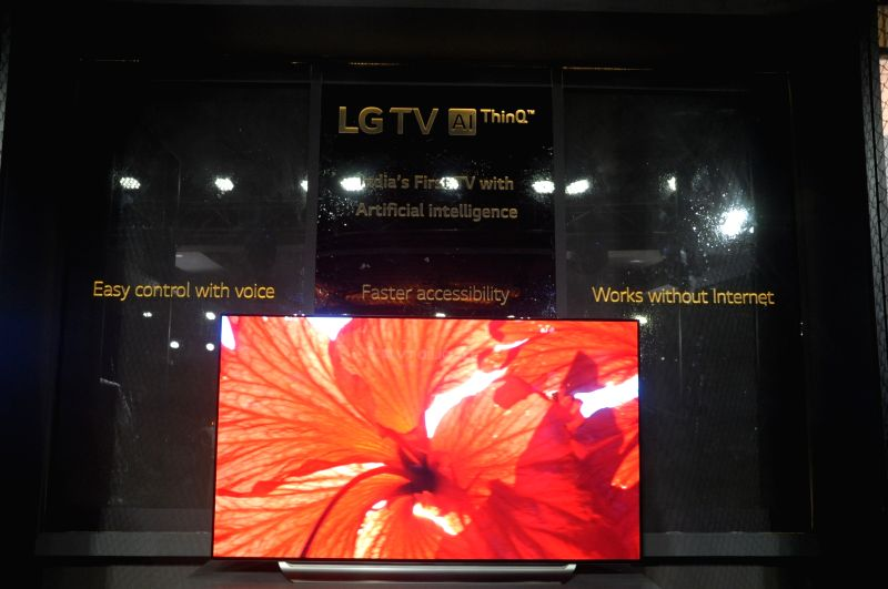 The newly launched LG OLED Artificial Intelligence (AI) ThinQ Television on display during a launch programme, in New Delhi on July 16, 2018.