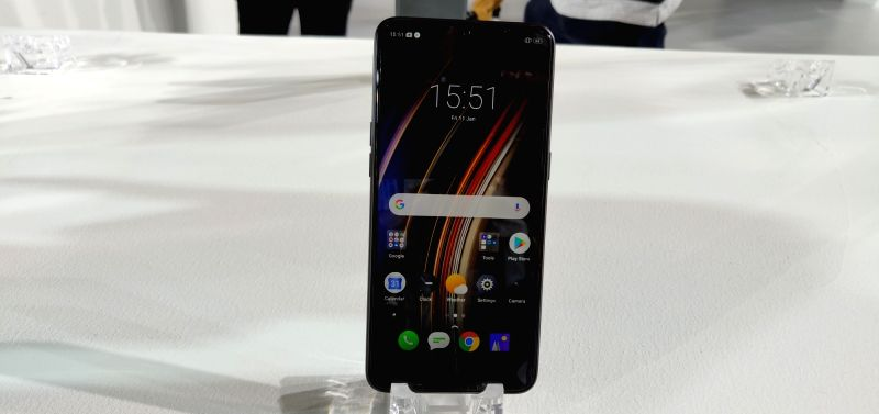 The newly launched Realme 3 Pro smartphone on display