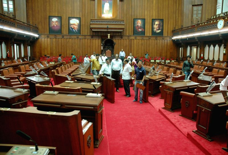 The Newly Renovated Legislative Council Hall has a plush new look which is getting last minute finishing touches as the month long monsoon council session begins on June 23, in Bangalore on June 21, .