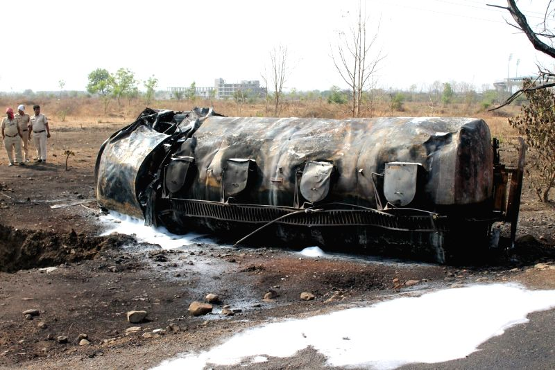 The petrol tanker that caught fire near the Vidarbha Cricket Association Stadium, Jamtha in Nagpur on May 2, 2017. Reportedly one person was killed and another seriously injured in the ...