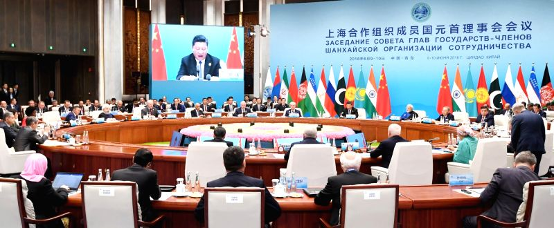 The Plenary Session of the Shanghai Cooperation Organisation (SCO) Summit underway in Qingdao, China on June 10, 2018.