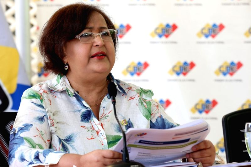 The President of the Electoral National Council (CNE) Tibisay Lucena delivers a speech after inspecting the voting machines in Caracas, Venezuela, on Nov. 29, 2015. ...