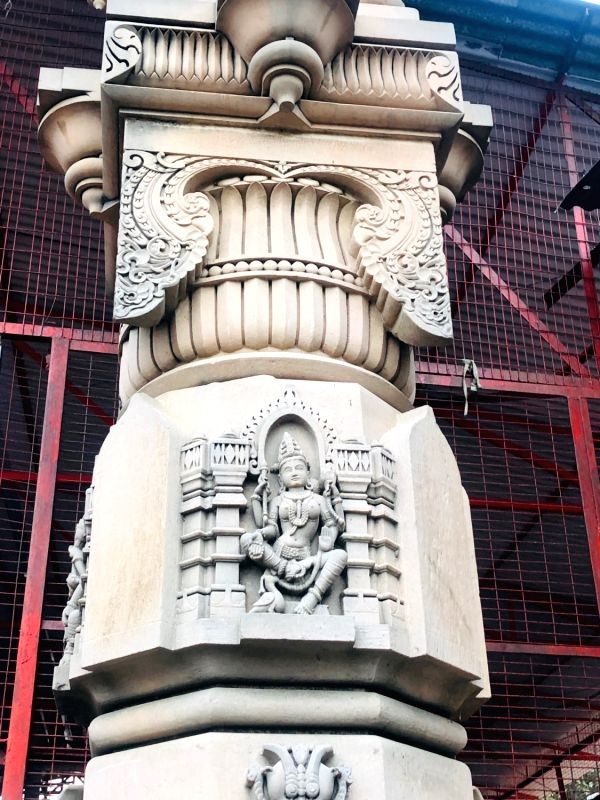 The ready pillar for the proposed Ram Temple. (Photo: Mohit Dubey/IANS)