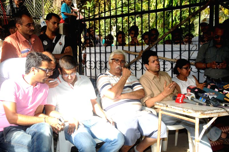 The residents of Worli's Campa Cola Compound address a press conference at the compound in Mumbai on June 22, 2014.