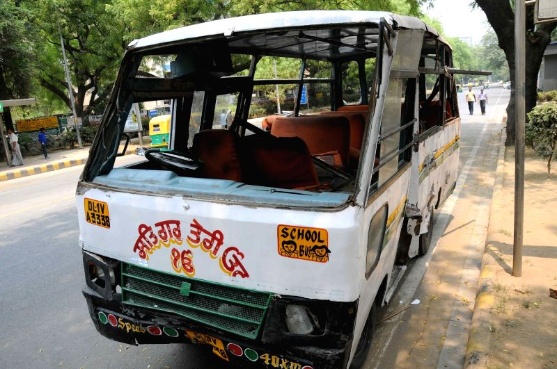 The RTV school bus that met with an accident with DTC bus at Parliament street in New Delhi, on May 8, 2016.