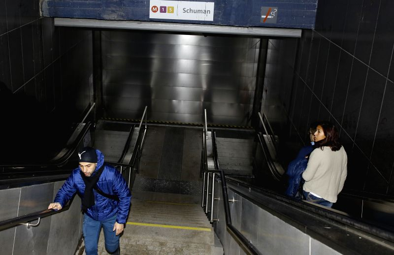 The Schuman metro station is shut dowm in Brussels, capital of Belgium, Nov. 21, 2015. Belgium raised its terrorism alert to the highest level early on Saturday ...
