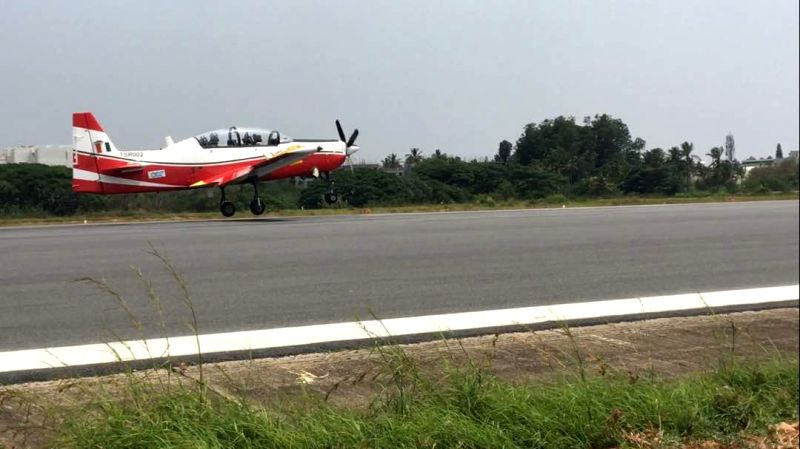 The second prototype of HAL's basic trainer HTT 40 takes its maiden flight.