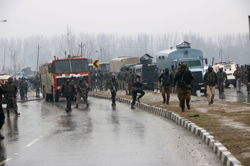 The site on on the Srinagar-Jammu highway where 40 Central Reserve Police Force (CRPF) troopers were killed in a suicide attack by militants in Jammu and Kashmir's Pulwama district on Feb 14, 2019. (File Photo: IANS)