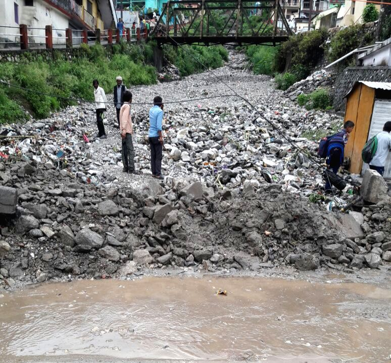 The site where a cloud burst occurred in Uttarakhand's Chamoli district on July 16, 2018.
