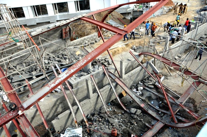The site where a shed of an under construction hospital collapsed on Saturday night near Taramani in Chennai, on July 22, 2018. The incident reportedly left one killed and 28 injured.