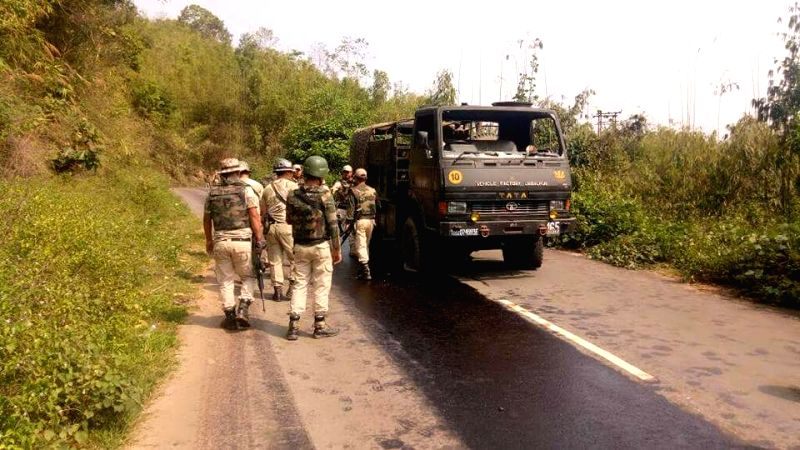 The site where a soldier died while three persons were injured after a foreign-made remote-controlled bomb exploded at Lokchao along the Trans Asian Highway 102 in Manipur on May 8, 2017.