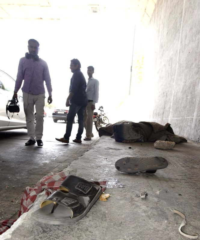 The site where  a speeding car suspected to be driven by a teenager mowed down four persons sleeping on a pavement near Kashmere Gate ISBT in New Delhi on April 20, 2017.