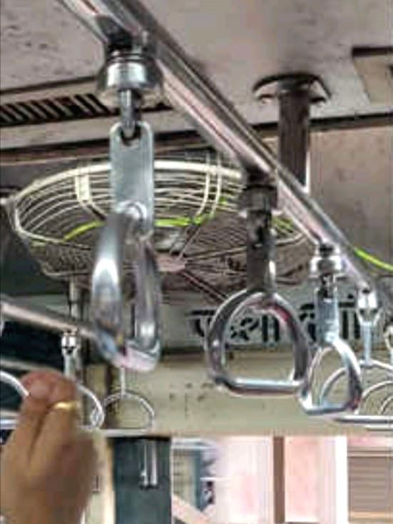 The slithering snake that was found on the overhead handle bars in a gents second class compartment of suburban Mumbai local train on Aug 2, 2018.