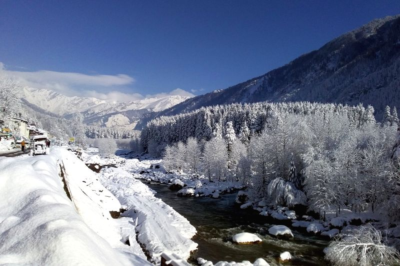 The snow-covered landscape of Manali after heavy snowfall, on Feb 8, 2019.