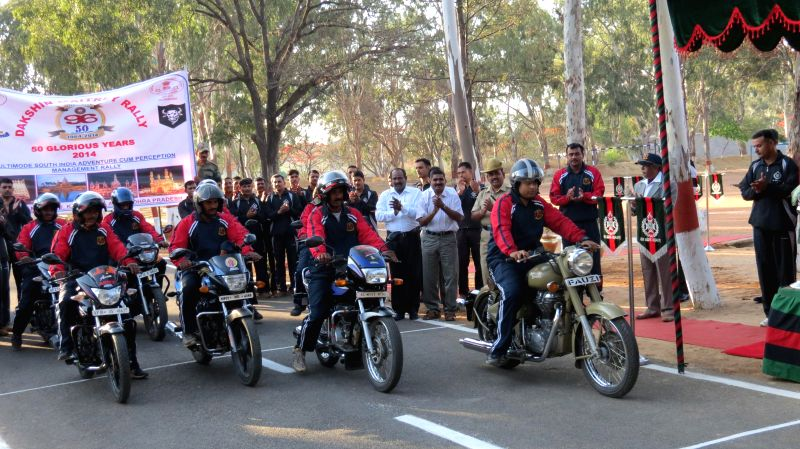 The soldiers participating in a Motor Cycle Rally organised on the 50th Raising Day of 96 Field Regiment in Bangalore on April 21, 2014.